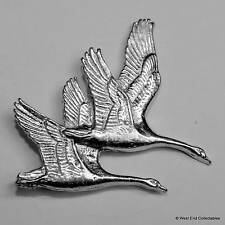 Brace of Swans Pewter Pin Brooch - British Hand Crafted- Whooper Mute Lake Bird