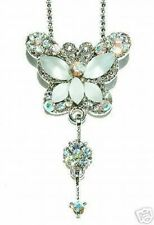 w Swarovski Crystal Bridal Wedding Jewelry White BUTTERFLY Pendant Necklace Xmas