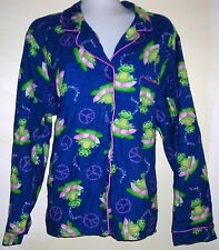 TAYLOR MARCS -  PEACE SIGNS & FROGS Button Front Cotton Flannel Pajama Top  - XL
