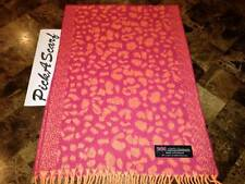 100% CASHMERE Scarf 2PLY Pink Coral Leopard Check Plaid SCOTLAND Wool B56