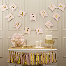 Pastel Happy Birthday Bunting Garlands Gold Letters Party Hanging Banner Decor