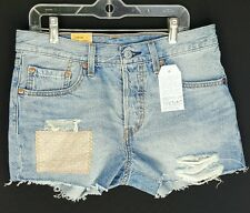 New Women's Levis Original Fit 501 Denim Shorts Button Fly Size 26