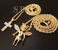 "Gold CZ Crown baby angel & Micro Cross Pendant & 24"" Rope Chain 2 Necklace Set"