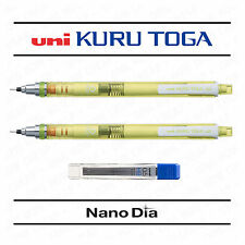 2 x UNI KURU TOGA SELF SHARPENING MECHANICAL PENCIL - GREEN BARREL + LEADS