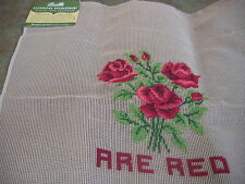 NWT VINTAGE BUCILLA PRE-WORKED NEEDLEPOINT CANVAS 20 X 20 ROSE DESIGN