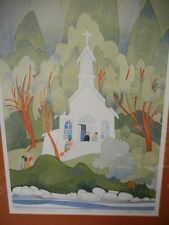 Rie Munoz ltd. Lithograph Chapel, Roche Harbor signed, 1983 SOLD OUT Rare Framed