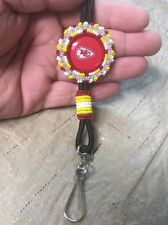"Native American Navajo Beaded Kansas City Chiefs Lanyard Badge Holder 36"" #4"