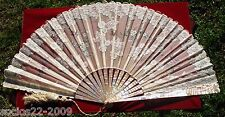 Antique Mother Of Pearl And Lace Hand Fan In Original Box 13.77 Inches (N71)