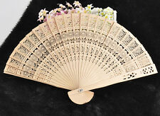 Hot Cute Sunflower Folding Bambo Original Wooden Carved Hand Fan Wedding Party F
