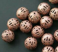 wholesale 150 Pcs Copper Plated Metal Hollow Flower Ball Spacer Beads 6mm