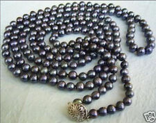 50 inches long 6-7mm Black Tahitian Cultured Pearl Necklace AA