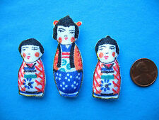 Lot of 3 Miniature Dollhouse Pillows of Charming Oriental Dolls Handcrafted