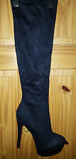 Ladies  Faux Suede Knee High Platform Boots BLUE 41 EU size