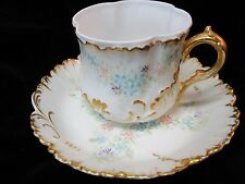 ANTIQUE MARTIAL REDON (MR) LIMOGES FRANCE CUP & SAUCER GOLD DECORATION