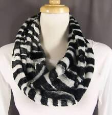 Black White Zebra stripe faux fur circle infinity endless loop long scarf