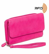 Mundi Womens My Big Fat RFID Wallet Clutch w/ Wrist Strap Hot Pink