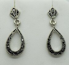 vintage marcasite style post/drop black fashion earring  WE-05 US-SELLER