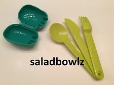 TUPPERWARE ON-THE-GO CUTLERY SET & CASE Snap-Together Fork Spoon Knife! fREEsHIP