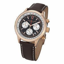 Stuhrling Original Men's 669.04 Monaco Quartz Chronograph Brown Leather Watch
