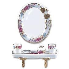 Reutter Porzellan Ovales Spiegelset Dresden Rose Bath Mirror Puppenstube 1:12