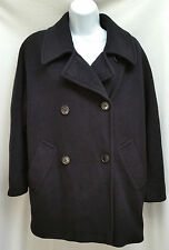 REGENCY CASHMERE S 6 M 8 Pure Black Double Button Luxury 3/4 Coat Jacket
