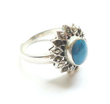 Balinese Sterling 925 Silver, Turquoise & Marcasite Ring, Size Q½ (US 8½) 18.5mm