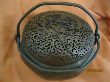 ANTIQUE CHINESE ASIAN BRONZE HAND WARMER - BEAUTIFUL PATINA BIRDS FLOWERS BATS