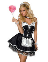WOMENS LADIES SEXY FRENCH MAID COSTUME HEN DOO FANCY DRESS PARTY 6 8 10 12 14