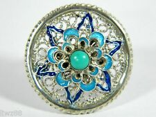 Exquisite Sterling Silver Filigree Enamel Size-Adjustable Ring Inlaid Turquoise