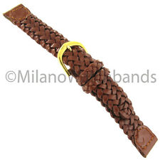 16mm Name Brand Genuine Leather Tan Brown Braided Woven Stitched Watch Band 875
