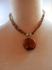 TINY BEADED 3 STRAND COPPERY ABSTRACT ROUND PENDANT NECKLACE