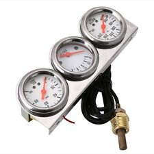 Universal 2'' Oil Pressure Water Voltage Volt Triple Gauge Set Gauges Panel
