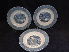 Currier Ives Royal China Blue and White Early Winter Soup Bowl FOUR EXCELLENT!
