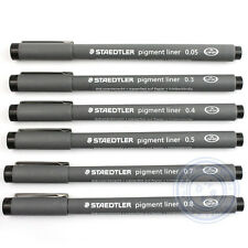 6 x STAEDTLER PIGMENT LINER FINELINERS DRAWING PENS - 0.05mm to 0.8mm