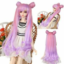 "Pixie BJD Doll Wig 8-9""1/3 SD DZ DOD LUTS Long Pink Purple Elfin Bun Wavy Hair"