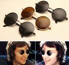 Hippy Dark Lens Sunglasses 50's Round Frame Shades John Lennon Metal Glasses XT