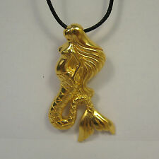 Mermaid Pendant 14K Gold over Bronze Necklace USA Made Mens Jewelry Sea Nymph