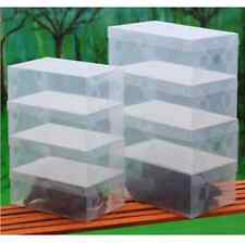 5X Transparent Clear Plastic Shoe Boot Box Stackable Foldable Storage Organizer