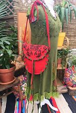DIVINE NEW RED GREEN SHOULDER BAG BOHO HIPPIE GYPSY BOHEMIAN PAGAN TASSELED
