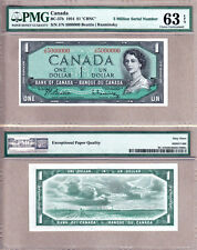1954 $1 Bank of Canada QE2 Million Serial# Note 5000000 PMG CH UNC63 EPQ