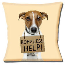 "NEW JACK RUSSELL TAN WHITE SMOOTH HAIR 'HOMELESS HELP' 16"" Pillow Cushion Cover"