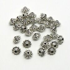 55 Antiqued Silver Plated Zinc Flower Spacer Beads 7x10mm (1.5mm Hole)