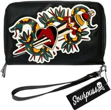 68014 Black Slither Snake Dagger Heart Tattoo Clutch Wallet Sourpuss Rockabilly