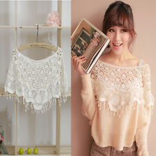 Hollow Out Lace Women Crochet Cape Collar Batwing Sleeve Tops T-shirt New
