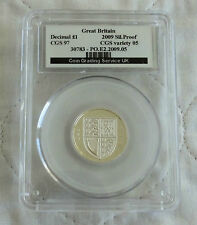 2009 ROYAL ARMS ONE POUND SILVER PROOF SLABBED CGS 97