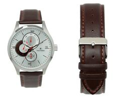 Trent Nathan Silver Sunray Dial Brown Strap Watch TN4S03G2  RRP $159