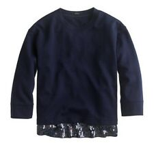 J.Crew Womens Navy/blue Sequin-trim Sweatshirt Sz. XXS