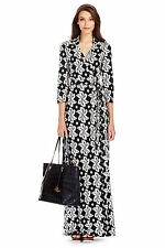 DIane Von Furstenberg Abigail Maxi Wrap Giant Leaf Floral Black Dress DVF