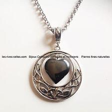 Le coeur des celtes pendentif entrelacs celtiques et coeur en Hématite