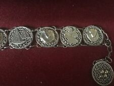 Old Asian,Middle Eastern White Metal Bracelet,Seven Decorative Medallions